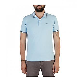 Emporio Armani Cotton Stripped Collar Sky Blue Polo