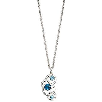 Elements Silver Round Topaz Pendant - Silver/Blue