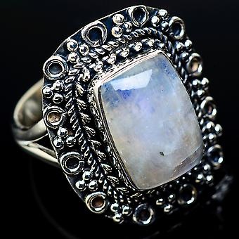 Rainbow Moonstone Ring Size 9.25 (925 Sterling Silver)  - Handmade Boho Vintage Jewelry RING11505