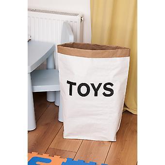 Cesta de brinquedos Cor Branca, Preta em Placa Kraft, Vinil, L50xP15xA60 cm