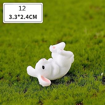 1pc Rabbit Easter Decoration Miniature - Hare Animal Figurine Resin Craft Mini