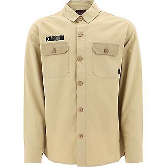 Babylon La F108007khk Men's Beige Cotton Shirt