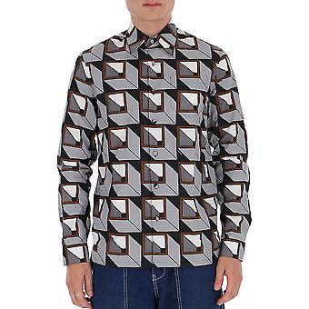 Prada Ucn3141xvff0276 Männer's grau Baumwollhemd