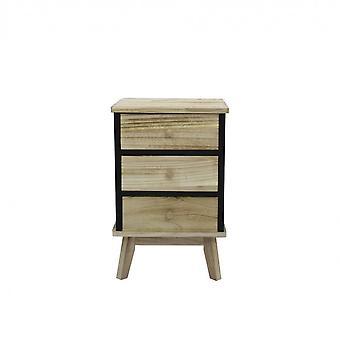 Rebecca Huonekalut Comodino 3 Musta Light Wood Laatikot Design 57x37x32