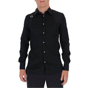 Alexander Mcqueen 624753qpn441000 Männer's schwarze Baumwolle Shirt