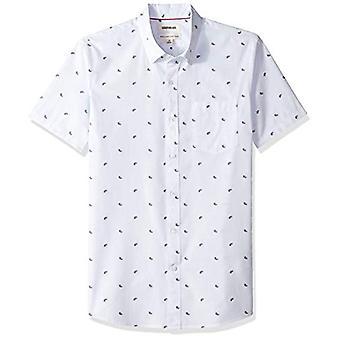 Goodthreads Men's Standard-Fit Short-Sleeve Dobby Shirt, -light blue paisley,...