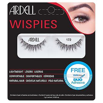 Ardell Wispies Lightweight Natural Hair False Lashes - 172 Black with DUO Glue
