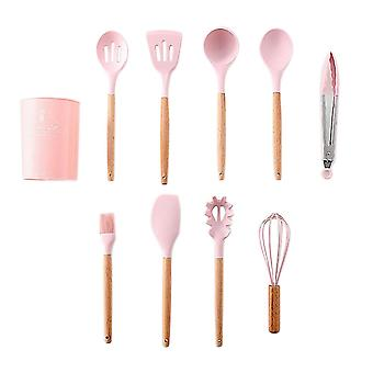 9-Piece Silicone Kitchenware Set Non-Stick Pan Kit Pink B