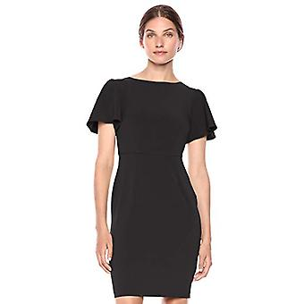 Lark & Ro Women's Fluid Crepe Short Sleeve Boat Neck Flutter Dress, Black 8