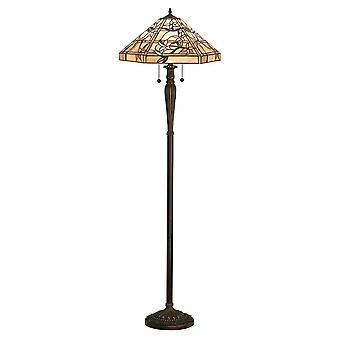 2 Lampe de plancher claire Tiffany Glass, Peinture en bronze foncé avec faits saillants, E27