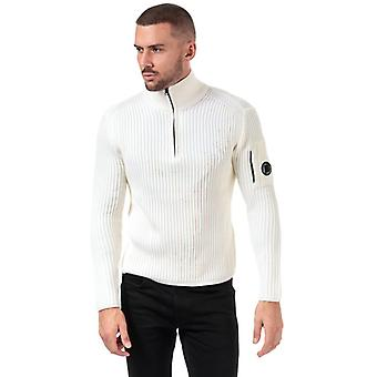 Men's C.P. Company Ribbed Knitted Full Zip Jumper in White