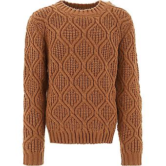 Balmain Uh03668k0328fa Men's Brown Wool Sweater