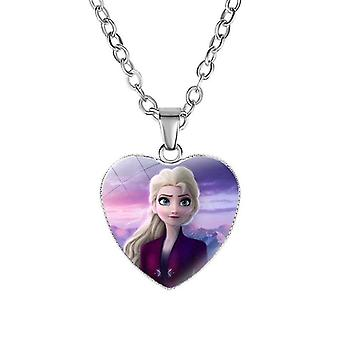 "Disney Frozen 2 Love Necklace,""s Cartoon Elsa Princess Anna Heart Shaped"