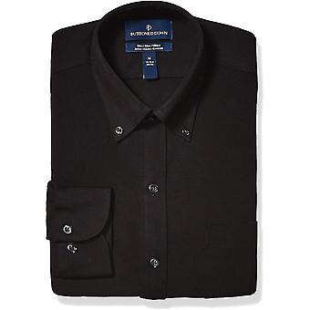 BUTTONED DOWN Männer's Slim Fit Supima Baumwolle Stretch stricken Kleid Shirt, schwarz, X...