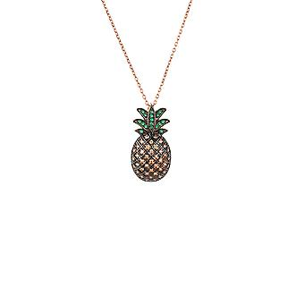 Large Pink Colourful Green Pineapple Fruit Gemstone Rose Gold Pendant Necklace