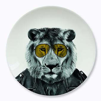 Mustard - wild dining - larry lion ceramic dinner plate
