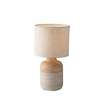 Keramische tafellamp met stoffen tint, natuurlijk houtzand, E27
