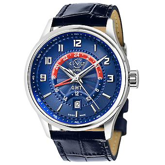 GV2 Men's Giromondo Blue Dial Blue Calfskin Leather Watch