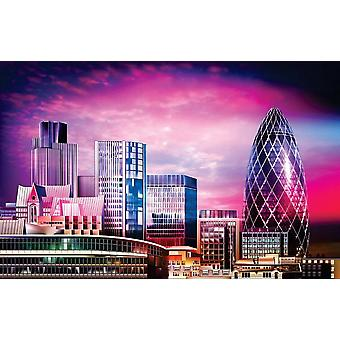 Wallpaper Mural Abstract Purple Cityscap