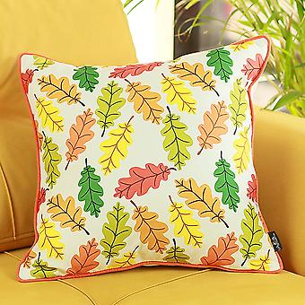 Fall Season Autumn Leaves Square Throw Pillow Cover
