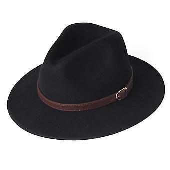 100% Australian Wool Felt Wide Brim Hat Vintage Jazz Fedora Couple Cap