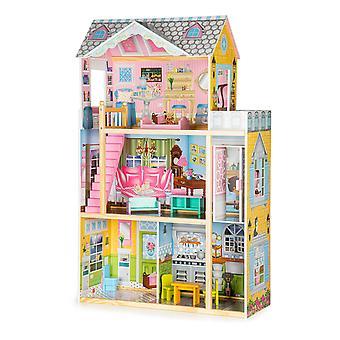 Puppenhaus mit 8 Möbeln - 3 Etagen - 74x30x117,5 cm