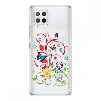 Scafo per Samsung Galaxy A42 5g in silicone flessibile 1 mm, farfalle e cerchi