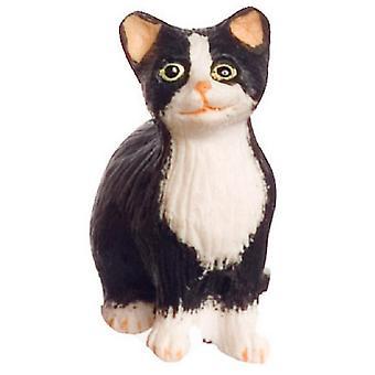 Dolls House Black Cat White Socks Sitting Miniature 1:12 Scale Pet Animal
