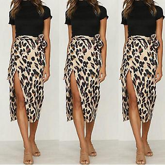 Leopard Print, High Waist, Midi Skirt