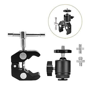 Utebit superclamp ball head shoe mount aluminum alloy ballhead articulated camera clamp and screw 3/