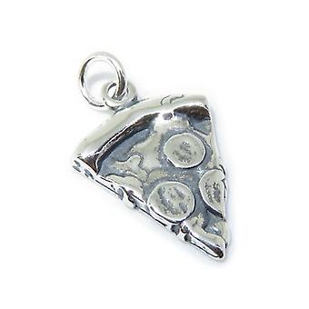 Pizza Slice Sterling Silver Charm .925 X 1 Pitza Piza Slices Charms - 8407