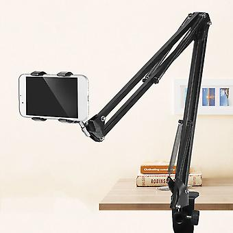 Universal 360 rotation adjustable flexible lazy arm online course aluminum alloy bed table smart phone tablet stand for 12-18cm width (black)