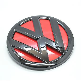 Gloss Black / Red Polo 6C Rear Back Boot Badge Emblem Lid Trunk GTI TSI TDI R-Line R32 110mm 2014-2016