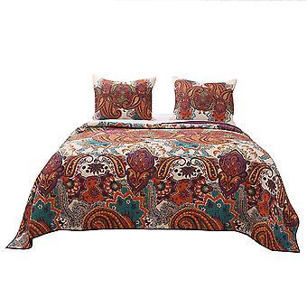 2 piezas twin tamaño algodón quilt set con estampado jacobeo, multicolor