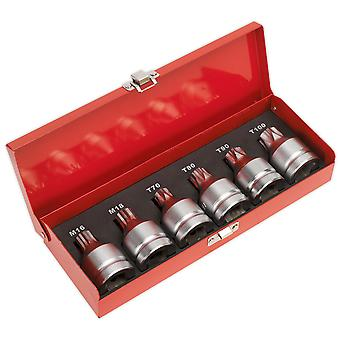 "Sealey AK6218 Security Trx-star & Security Spline Bit Socket Set 3/4""sq Drve 6pc"