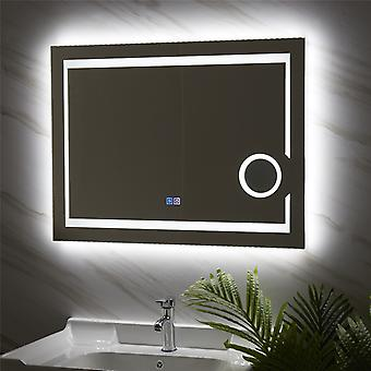 "32""x24"" Wall Mounted Lighted Bathroom Vanity Mirror Touch 3x Magnified Anti-fog"
