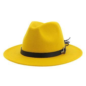 المرأة واسعة بريم الصوف شعر الجاز فيدورا القبعات بنما نمط السيدات الرجال أنيقة