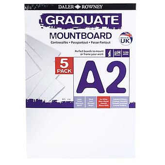 Daler Rowney A2 Graduate Mount Board Pack of 5 Ice White