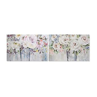 Painting Dekodonia Flowers Multicolour (2 pcs) (120 x 3 x 80 cm)