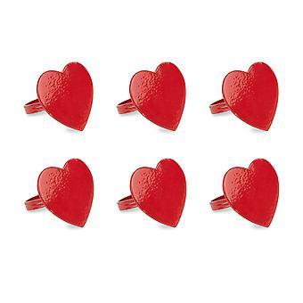 Anillo de servilleta de corazón rojo dii (juego de 6)