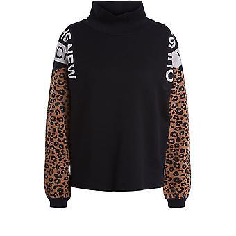 Jumper de impressão oui preto e leopardo