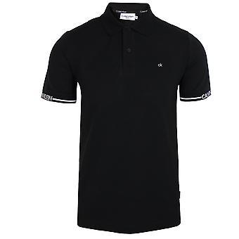 Calvin klein men's black logo cuff polo shirt