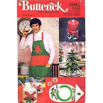 Butterick نمط الخياطة 5092 عيد الميلاد Placemats المناديل شمعة حامل شجرة مئزر