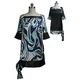 Chic Star Tie Dobladillo Vestido de túnica reversible en azul marino / turquesa