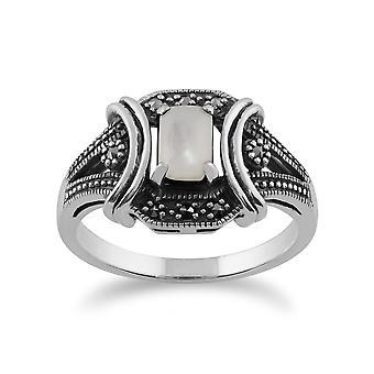 Gemondo 925 Sterling sølv 0.47ct mor af Pearl & Marcasite Art Deco-Ring