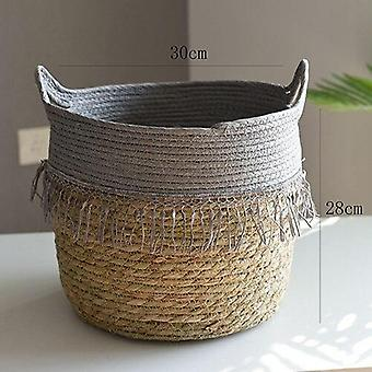 Handwoven rattan storage basket for household and decor