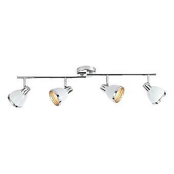 DAR OSAKA Spotlight Bar Glans Hvit og Polert Chrome, 4x E14