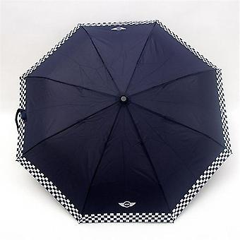 Rutig automatisk hopfällbart paraply (blå)