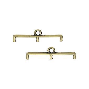 Cymbal perle avslutninger for 11/0 Delica & Runde perler, Topolia III, 5.5x23mm, 2 Stykker, Antikk Messing Belagt