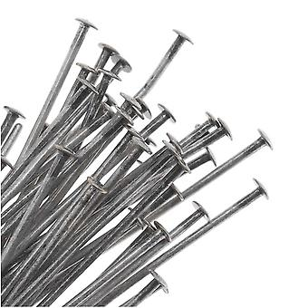 Head Pins, 3 Inches Long and 22 Gauge Thick, 25 Pieces, Antiqued Silver Plated